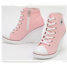 Platform Wedge Heels Sneakers Ankle Boots High Top Women's Girls Lace Zip Canvas in Clothing, Shoes & Accessories, Women's Shoes, Heels Wedge Heel Sneakers, Sneakers Mode, Sneaker Heels, Sneakers Fashion, Fashion Shoes, Shoes Sneakers, Wedge Heels, Converse Wedge, Dream Shoes