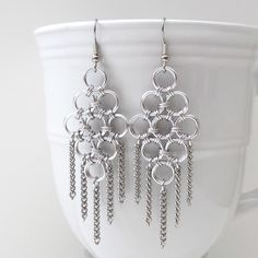 Chainmaille and chain earrings, Like incorporating premade chain as an accent- Pic Only