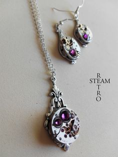 off Steampunk Jewelry set in Amethyst by SteamRetro Washer Necklace, Pendant Necklace, Gift Sets, Steampunk, Amethyst, Trending Outfits, Unique Jewelry, Handmade Gifts, Etsy