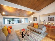 This home has cork ceilings throughout. Adds nice texture and warmth, and the sound buffering is a benefit.