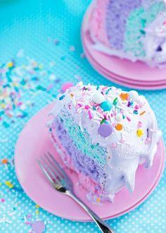 cake, sweet, food, delicious n dessert Cute Desserts, Delicious Desserts, Yummy Food, Angel Food Cake Desserts, Colorful Desserts, Colorful Food, Food Deserts, Food Cakes, Sweet Recipes