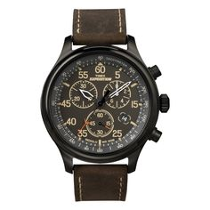 This men's Expedition Rugged Field Chronograph watch from Timex offers sophisticated style with a brown leather strap and a refined color palette. This watch boasts three subdials and a date counter.