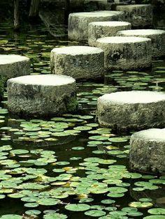 Kyoto Japan Zen zahradní jezírko lilie odrazový můstek