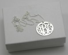 Monogram Necklace Sterling Silver  Bridesmaid Gift by MCMetalwork, $30.00