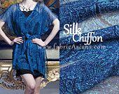 SALE Strawberry Chiffon. Black Silk Chiffon. by fabricAsians