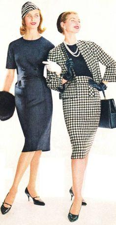 1959 fashion transitional looks dress suit 50s 60s era vintage style charcoal grey wiggle sheath check suit jacket skirt purse shoes hat model magazine print ad black white