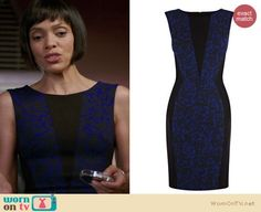 Camille's blue and black patterned dress with triangle inset on Bones.  Outfit Details: http://wornontv.net/20192/ #Bones