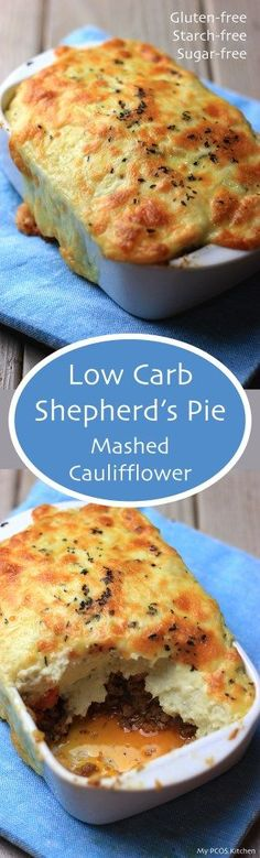 Low Carb Shepherd's Pie - Mashed Cauliflower topped over delicious ground meat.