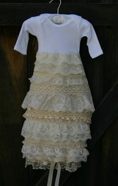(Baby Dedication) Ruffle Baby Gown-Off White. $65.00, via Etsy.