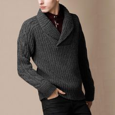 Need to find or draft a pattern for something very much like this (cable arms, simple front, shawl collar pullover)
