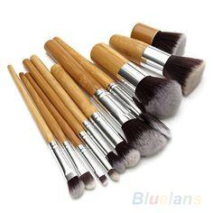 11 Unids Mango De Madera Profesional Maquillaje Cosmético Suave Sombra de Ojos Fundación Corrector Cepillos del Sistema de Cepillo Herramienta de La Belleza