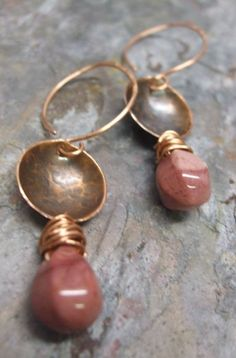 Pink Rain Earrings Copper and Mookite by ThePurpleLilyDesigns, $19.50