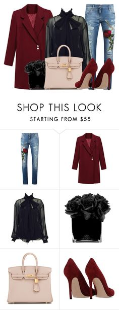"""""""Romantic High-Neck Blouses #2"""" by ismidilianda on Polyvore featuring Dolce&Gabbana, Karl Lagerfeld, Hervé Gambs, Hermès, Gianvito Rossi, women's clothing, women's fashion, women, female and woman"""