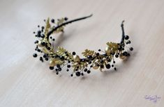 Gold black crown crystal tiara Gold leaves crown by Vualia on Etsy