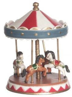 DECORATION: Dollhouse Miniature Carousel with Four Horses