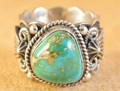Handmade ring, with natural Royston Turquoise, by Navajo artist Donovan Cadman.