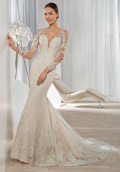Wedding Dresses:   Illustration   Description   Beaded lace fit-n-flare wedding dress | Demetrios 639 | trib.al/W1c8gB8    -Read More –   - #WeddingDresses https://adlmag.net/2017/12/13/wedding-dresses-beaded-lace-fit-n-flare-wedding-dress-demetrios-639-trib-al-w1c8gb8/