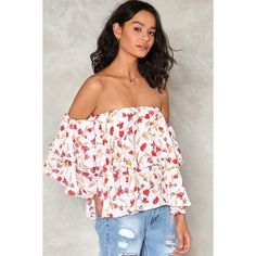 Nasty Gal Running Through the Garden Floral Top (350 SEK) ❤ liked on Polyvore featuring tops, white, white off the shoulder top, off-the-shoulder ruffle tops, off the shoulder tops, ruffle top and ruffle crop top