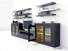 Aparador con estantes, en negro y dorado http://www.casanova-gandia.com/Profesionales/catalogos/catalogo-suspirarte.aspx