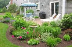 how to landscape around concrete patio - Google Search - Gardening Layout