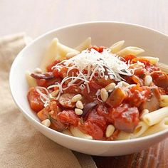 Healthy Pasta Recipes for People with Diabetes | Diabetic Living Online PENNE WITH EGGPLANT TOMATO SAUCE.