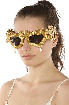 new style 7c1cd ca3eb Jeremy Scott for Linda Farrow Sunglasses The Jeremy Scott Antique Gold  Baroque Sunglasses with Pearl Teardrop
