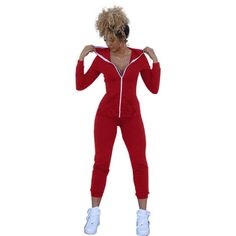 Women Bodycon One Piece Outfits Casual Rompers Jumpsuits Womens Black/Red Zipper Hooded Long Pants Sportswear Playsuit Bodysuit