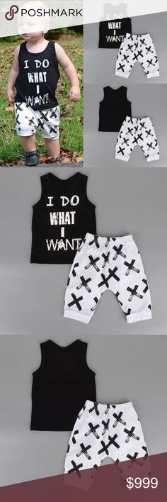 """🆕""""I Do What I Want"""" 2pc Set Brand New! Toddler """" I Do What I Want""""  black tank top and white/black printed shorts set. Includes top and shorts only.   Size: 2T(70), 3T(80), 4T(90)                                   ✨Bundle & Save✨                                 No PayPal✨No Trades  💟Boutique items may or may not have tags but shipped New from supplier.      💟Size chart are approximate measurements. Please reference to your child's size before purchasing.  💟Please ask any questions you…"""