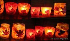 Alle Jahre wieder basteln wir zur Herbst- oder Adventszeit diese Windlichter. Als Ausgangslage dient ein transparentes Glas. Mit Kleis... Diy Fashion Projects, Jar Lights, Kids Corner, Pin Collection, Diy For Kids, Candle Holders, Candles, Crafts, Halloween
