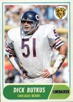 Dick Butkus Chicago Bears Bears Football, Football Memes, Sport Football, Football Players, Custom Football, Vintage Football, Middle Linebacker, Nfl Uniforms, Football Trading Cards