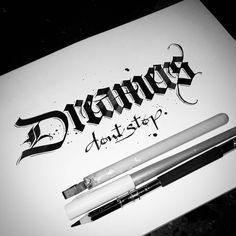 """Dreamers' don't sleep"" - Calligraphy @handmadefont"