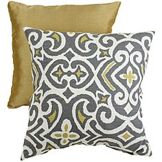 @Overstock - Set includes: One decorative throw pillow  Dimensions: 16.5 inches long x 16.5 inches wide x 5 inches high  Color options: Grey, yellow damask  http://www.overstock.com/Home-Garden/Pillow-Perfect-Decorative-Grey-Yellow-Damask-Square-Toss-Pillow/6347602/product.html?CID=214117 $24.62