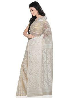 White Cotton Dhakai Jamdani Handloom Saree