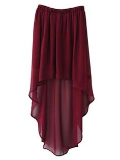 Red High-Low Chiffon Skirt from Choice Hi Low Skirts, Red Skirts, Cute Skirts, Red Chiffon, Chiffon Skirt, Sheer Chiffon, High Low, Red High, Cool Outfits