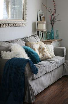 Ikea Ektorp Sofa + Comfort Works Velvet Slipcover