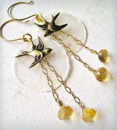 """""""La Bella Luna"""" Petite Bird Earrings"""