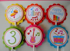 12 Music Birthday Party Cupcake Toppers by sweetheartpartyshop, $10.00