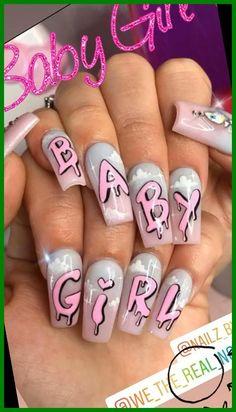 Edgy Nails, Grunge Nails, Funky Nails, Swag Nails, Baby Girl Nails, Girls Nails, Baby Nail Art, Pink Acrylic Nails, Acrylic Nail Designs