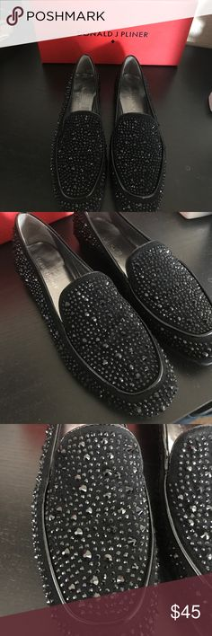 NWB size 7.5 Donald J Pliner black studded Loafers Brand new gorgeous studded rhinestone black loafers. Brand new with box never worn! Donald J. Pliner Shoes Flats & Loafers