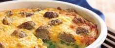 Frozen meatballs and veggies make this cheesy casserole even easier.
