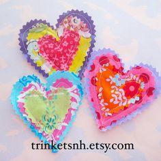 Hand Cut Fabric Hearts Applique Embellishment Set of Three on Etsy, $5.75