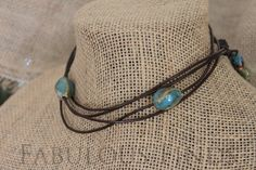 Turquoise Stone and Dark Brown Leather by loveFabulousFinds, $36.00