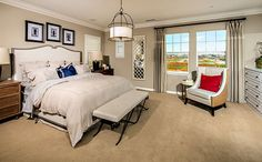 The expansive master suite offers a spacious walk-in closet and private bath with separate shower and tub and dual sinks. - Residence 3 at Hampshire at College Park in Chino, CA