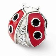 Sterling Silver Ladybug w/Swarovski Elements Bead Charm