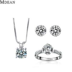 Check lastest price MDEAN White Gold Color Overlay AAA Zircon Jewelry Sets Engagement Vintage Rings + Earrings + Necklace For Women just only $6.50 with free shipping worldwide  #weddingengagementjewelry Plese click on picture to see our special price for you
