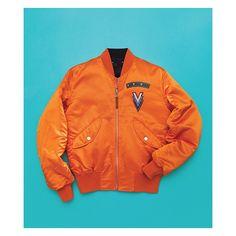 Louis-Vuitton-Orange-Reversible-Satin-Bomber-Jacket UpscaleHype ❤ liked on Polyvore featuring jackets