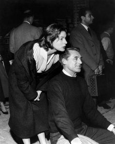 Ingrid Bergman and Cary Grant, behind the scenes of Indiscreet (1958).