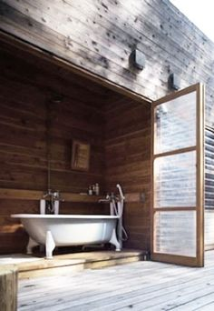 = all wood and white bath