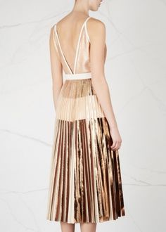 Proenza Schouler pale blush cloqué midi dress Rose gold foil print at pleated bodice, keyhole cut-out, pleated skirt with rose gold, blush and bronze foil-print stripes, deep V-back, fully lined Concealed zip fastening at side Fabric1: 100% polyester; fabric2: 74% acetate, 26% viscose; lining: 70% acetate, 30% silk