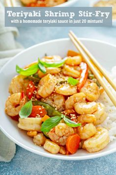 Teriyaki Shrimp Stir Fry: skip takeout and make this quick 20 minute weeknight dinner that includes fresh veggies and a homemade teriyaki sauce with no marinating needed! Shrimp Recipes, Pork Recipes, Asian Recipes, Cooking Recipes, Healthy Recipes, Shrimp Meals, Slow Cooked Pulled Pork, Teriyaki Shrimp, Shrimp Stir Fry